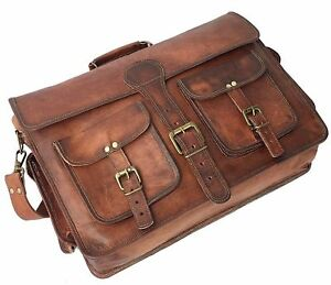 New-Men-039-s-Genuine-Brown-Leather-Vintage-Laptop-Messenger-Shoulder-Briefcase-Bag