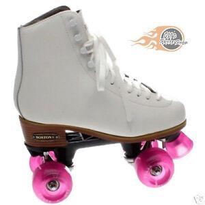 23e73a0e4d4fe Details about Boston II White Leather Quad Roller Skates - Ventro wheels  all colours