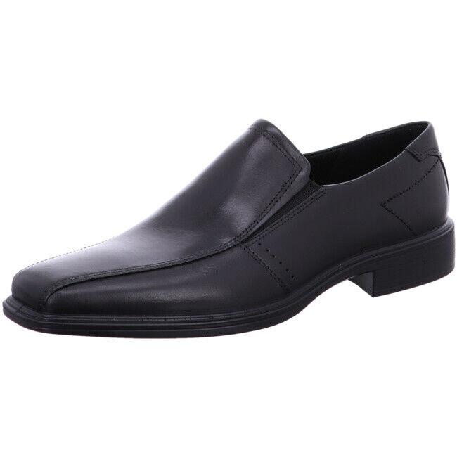 Men Ecco Slip On Black Leather Loafer shoes