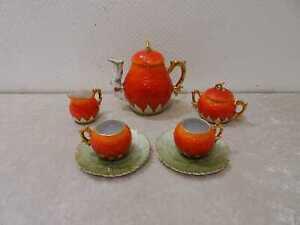 Antiguo-7-Piezas-Porcelana-Moca-Ornamental-Servicio-Fresa-Nouveau-Vintage-Um