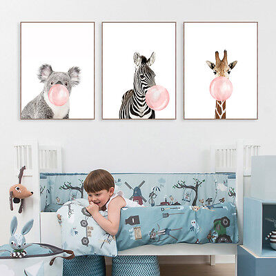 Cartoon Animal Bear Giraffe Canvas Poster Nursery Picture Baby Room Decoration