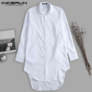 Men-039-s-Collar-Long-Sleeve-Shirt-Formal-Longline-Loose-T-Shirt-Cardigan-Tops-Tee
