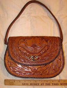 Image is loading Vintage-Handmade-Tooled-Leather-Purse-Handbag-OOAK 4cc84df0c1a29