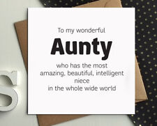 AUNTY AUNTIE Birthday Cards From Niece Aunt Day Funny Gift Greetings Card B55