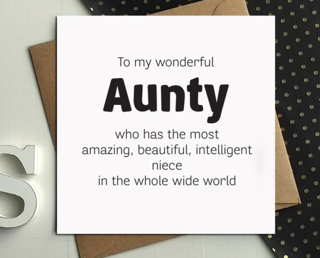 Aunty Auntie Birthday Cards From Niece Aunt Day Funny Gift Greetings