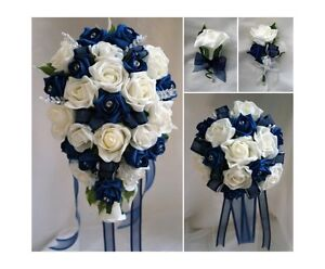 Bridesbridesmaids wedding bouquet flowers navy blue white or ivory image is loading brides bridesmaids wedding bouquet flowers navy blue white mightylinksfo