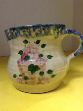 Alpine Pottery Water Pitcher, Roseville Ohio, Glazed Floral Pattern With Sponge