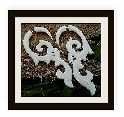 Trpoical Flower Earrings, White Bone Earrings  Fake Gauges Split  Expanders