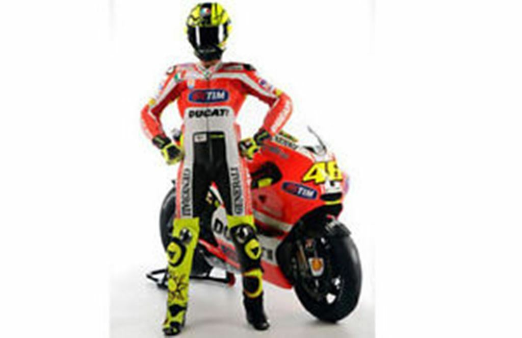 Minichamps 312 110846 Rossi figure Team MotoGP Ducati VROOM lancement 2011 1,12 th