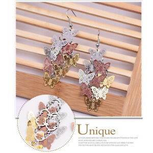 Womens-Unique-Butterfly-Dangle-Chandelier-Drop-Earrings-Ear-Hook-Party-Jewelry