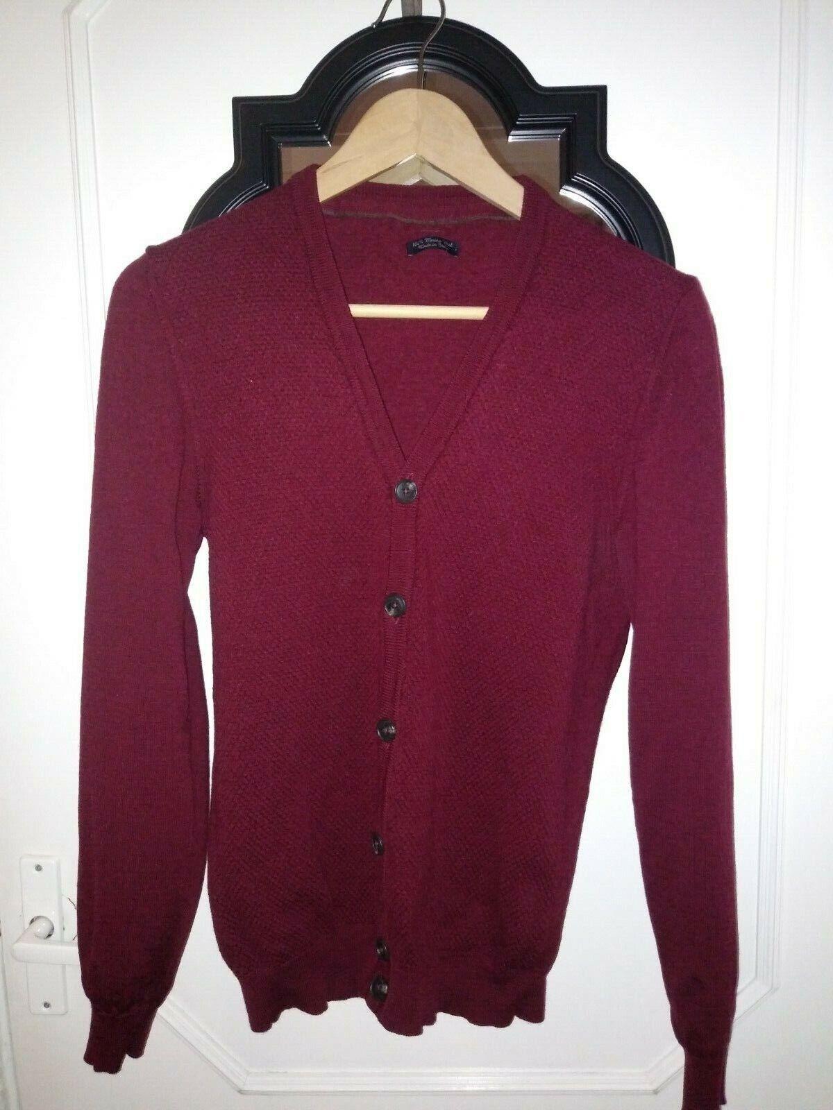McGregor 100% Merino Wool Cardigan in Burgundy colour Size S