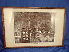 Industrial framed sketch Interior of a Rolling Mill 1871 artist JP Davis black