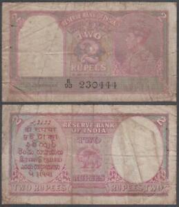 India-George-VI-2-Rupees-ND-1937-Issue-VF-3-pinholes-P-17-b
