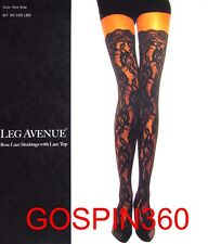 ROSE LACE Thigh High Stockings w/ LACE TOPS - BLACK O/S