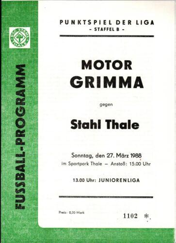 BSG Motor Grimma DDR-Liga 87/88 BSG Stahl Thale 27.03.1988