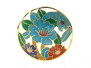 NEW-Large-Hibiscus-Flower-Cloisonne-Brooch-Hand-Crafted-Enamel-Jewellery-GIFT