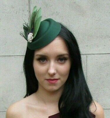 Sage Willow Green Peacock Feather Pillbox Hat Hair Clip Fascinator Races 6348