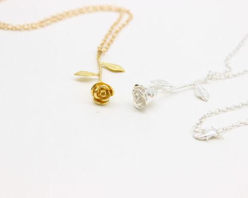 Halskette mit Anhänger Anhänger als eine schöne Rose Gold oder Silber