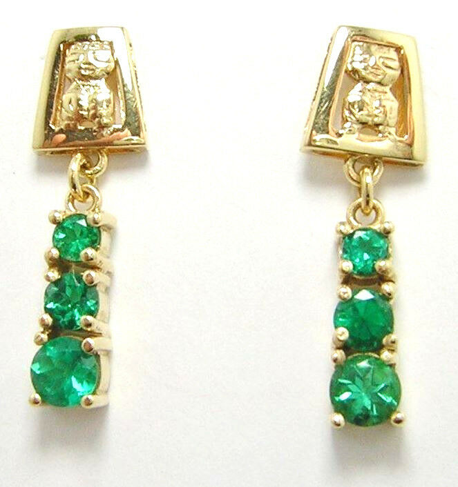 Colombian Round Emerald Earrings 1.08 Cts 18K Yellow gold Fine Jewelry Muzo Mine