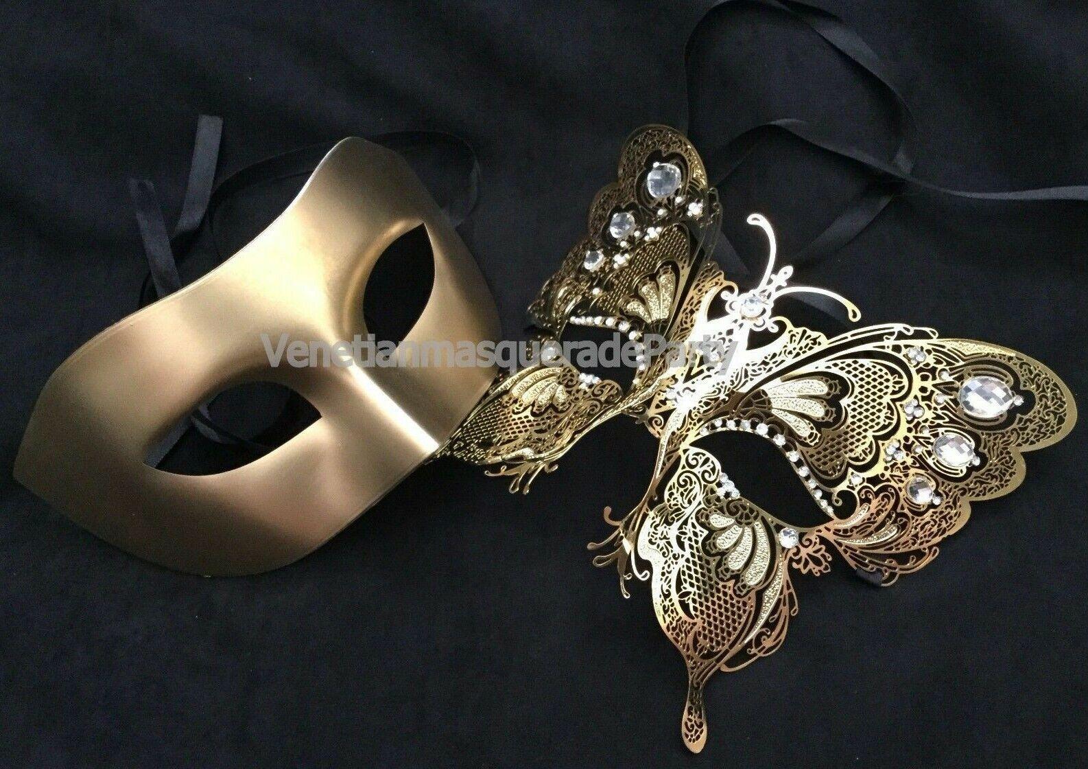 Gold Luxury Couple eye mask Masquerade ball School Prom Dress up Wedding party