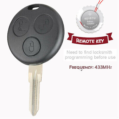 Uncut Remote Control Key Fob 3 BTN 433MHz Fit For Mercedes Benz ...