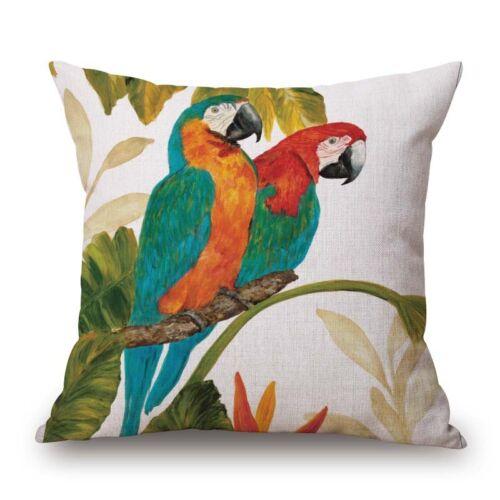 """European Bird Parrot Cotton Linen Decorative Throw Pillowcase Cover Cushion 18/"""""""