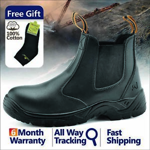 Safetoe-Safety-Work-Boots-Mens-Steel-Toe-Black-Leather-Water-Resistant-Slip-on