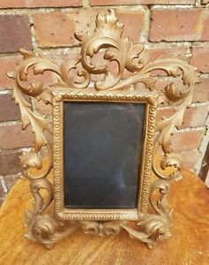 Vintage-c1880-1920-French-Baroque-Style-Metal-Guilded-Picture-Frame