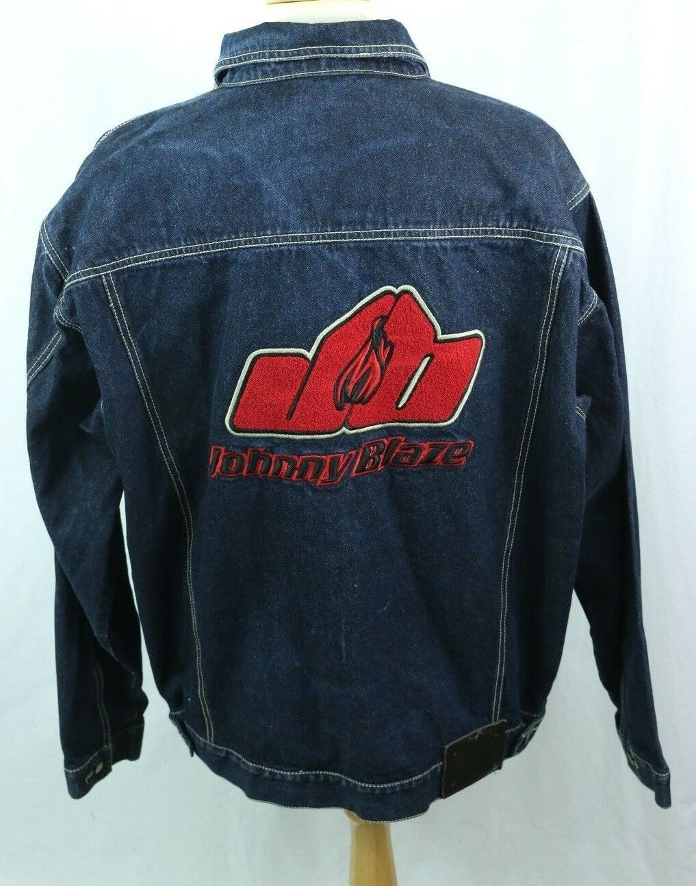 Johnny Blaze Denim Veste en jean homme XL Heavy broder flamme vintage ruewear