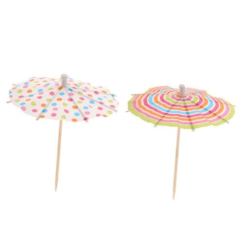 100 x Polka Dot Circle Umbrella Tropical Cocktail Party Picks Food Pick