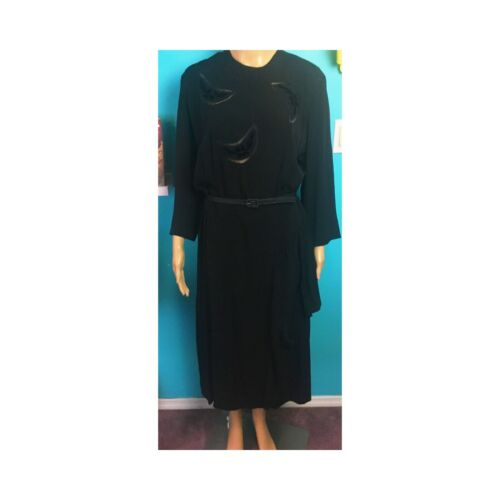 vintage 1940s Witchy Moon Evening Dress Draped Ray