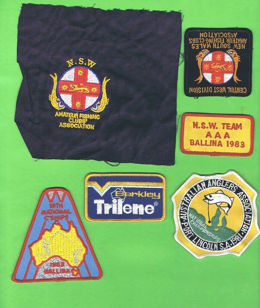 D38. SIX FISHING RELATED CLOTH PATCHES