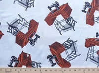 Antique Sewing Machines Tables On White Vintage Cotton Fabric Print Bty D770.04