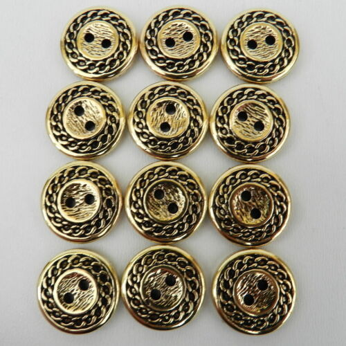 5 x gold chain patterned buttons 2 holes  sizes 15mm /& 18mm