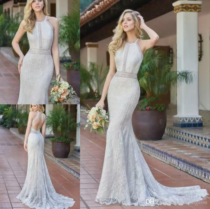 2019 Bohemia Lace Beach Wedding Dress White White White Ivory Halter Mermaid Bridal Gown New ea0c41