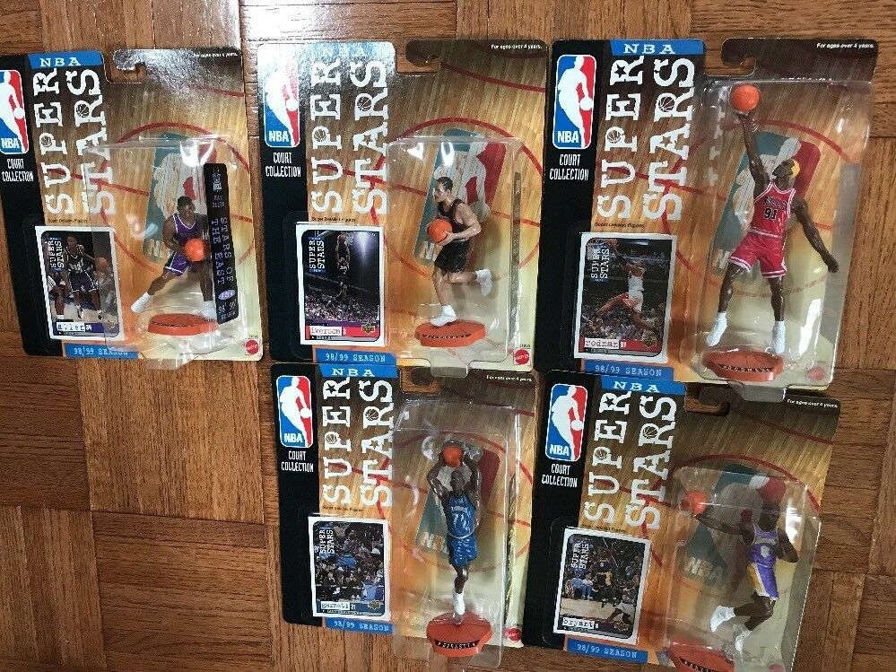 1998-99 5 SET NBA STARS Figure & Card Upper Deck KOBE BRYANT KEVIN ALLEN RODMAN