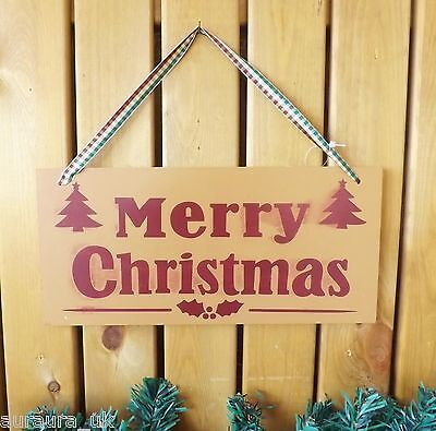 Caramel /& Red Merry Christmas Plaque Decoration on Gingham Ribbon Wooden Sign