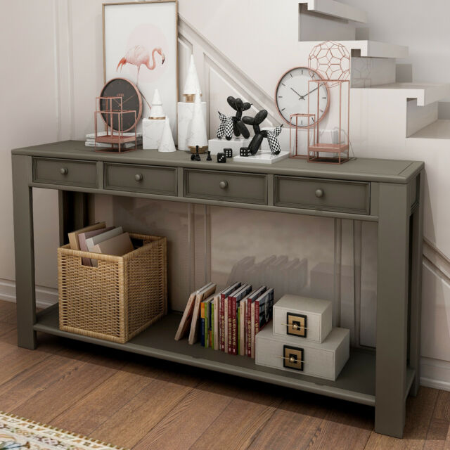 Console Table For Entryway Hallway Sofa W Storage Drawers And Bottom Shelf