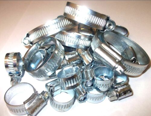 35 Assorted Hose Clips. Jubilee type. Worm Drive Hose Clips. 8-35mm