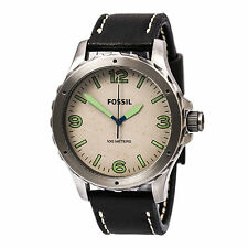 Fossil JR1461 Men's Nate White Dial Black Leather Strap Watch