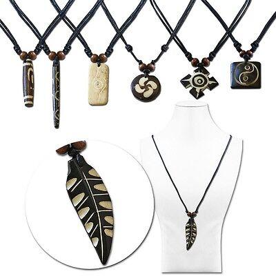 Herren Halskette Anhänger Leder Surferkette Motiv Rund YingYang Unisex Vintage