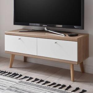 Retro TV-Lowboard weiß matt Eiche Fernsehschrank mit 2 Klappen ...