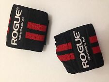 """Rogue Fitness Wrist Wraps, Long 24"""" Black/Red, Power/Weight Lifting Crossfit WOD"""