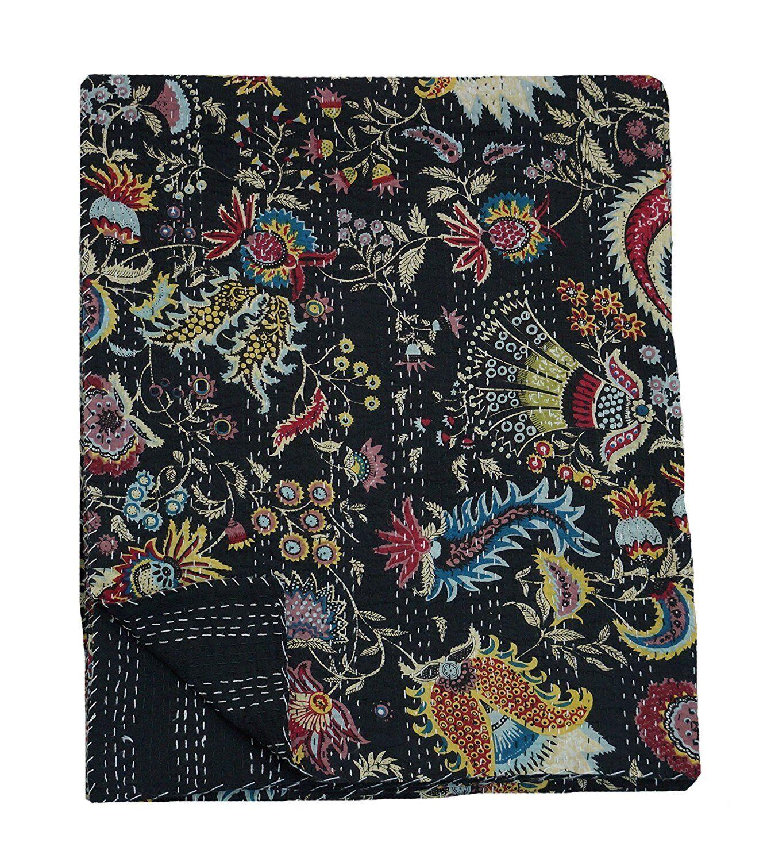 Indian Handmade QueenSize Kantha Quilt Gudari flower Bedspread Blanket Throw