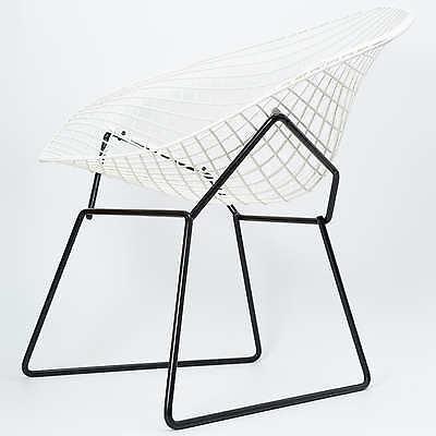 Harry Bertoia Diamond Chair Two Tone Black White Modell 421 Knoll  International