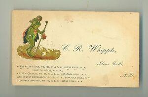 Late 1800s masonic business card glen falls ny with walking frog image is loading late 1800s masonic business card glen falls ny colourmoves