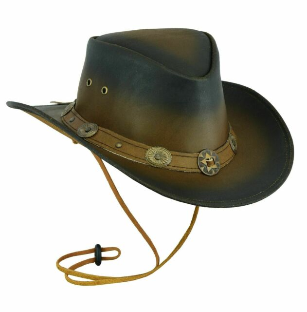 8bf0174f5a4e1 Hazy Blue Leather Hat Adelaide Cowboy Australian Quality Real Leather Brown  S for sale online | eBay