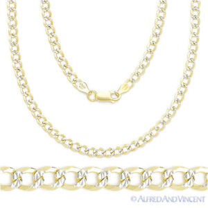 Cuban-Curb-Sterling-Silver-14k-Yellow-Gold-Men-039-s-4-3mm-Link-Chain-Necklace-Italy