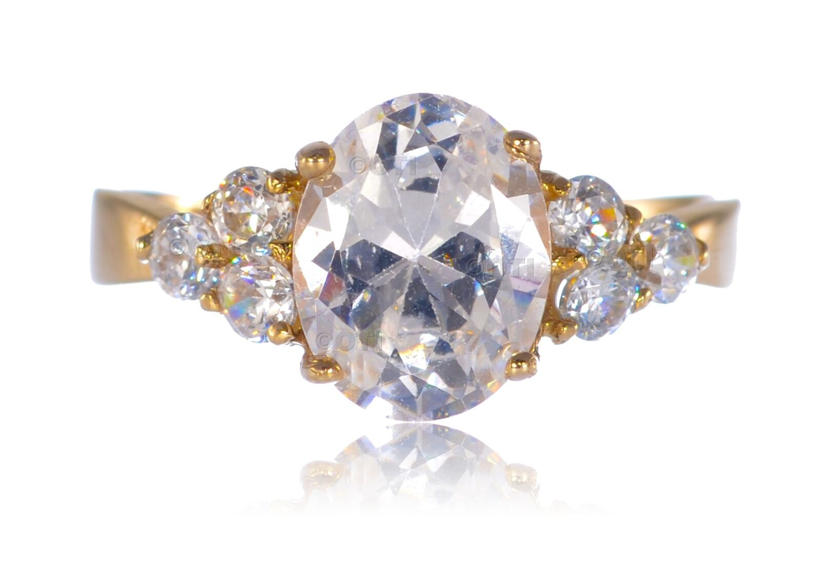 14K Solid Genuine Yellow gold Oval Cut Engagement Wedding CZ 5.00ct Ring