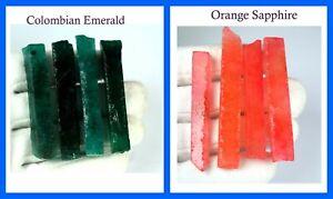 8 Pcs Orange Sapphire & Colombian Emerald 480 Ct+ Natural Gems Slice Rough Lot
